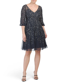AIDAN MATTOX Flutter Sleeve Beaded A-line Dress