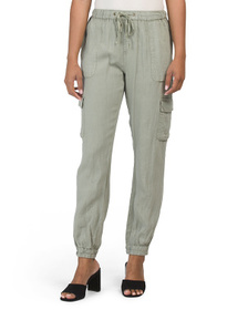 NICOLE MILLER Linen Pigment Dyed Pull On Jogger Pa
