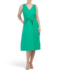 NICOLE MILLER Linen V-neck Tie Waist Midi Dress