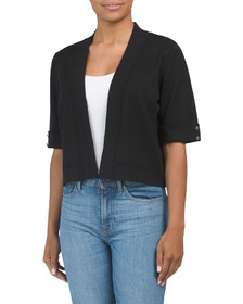 ISELA Open Front Shrug With Cuffed Sleeves