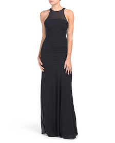 HALSTON Sleeveless High Neck Fitted Ruched Gown