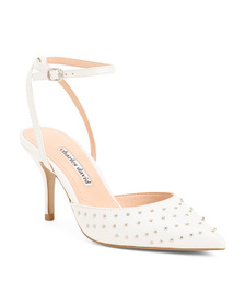 CHARLES DAVID Leather Ankle Strap Pumps With Stud