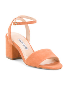 CHARLES DAVID Suede Ankle Strap Sandals
