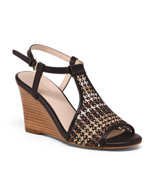 COLE HAAN Woven All Day Comfort Leather Trim Wedge