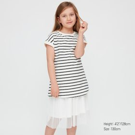 Girls Striped Short-Sleeve Tunic, Off White, Mediu