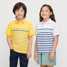 Kids Dry Pique Striped Short-Sleeve Polo Shirt, Wh