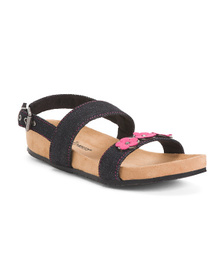 MINNETONKA Double Strap Flower Sandals (Little Kid