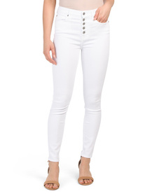 7 FOR ALL MANKIND High Waist Stacked Button Skinny