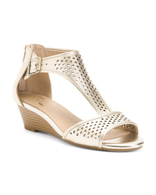 AEROSOLES Comfort Perforated Leather Wedge Sandals