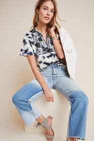 Anthropologie Elle Embroidered Tie-Dye Top