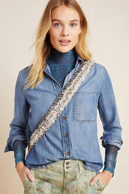 Anthropologie Cloth & Stone Frayed Chambray Button