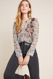 Anthropologie Ronan Embroidered Babydoll Blouse