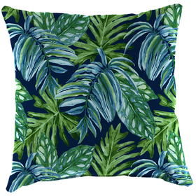 Jordan Blue and Green Tropical Leaves 16in. Pillow