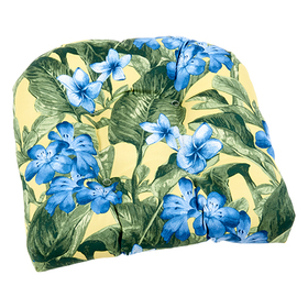 Yellow and Blue Floral Wicker Chair Cushion