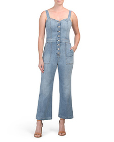 7 FOR ALL MANKIND Cropped Stacked Button Jumpsuit