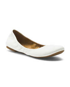 LUCKY BRAND Leather Scrunch Ballet Flats
