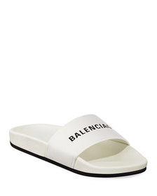 Balenciaga Logo Leather Pool Slides White