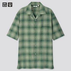 Men U Linen Cotton Short-Sleeve Shirt, Green, Medi