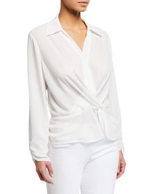 Neiman Marcus Collared Knot Front Top