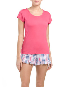 ECHO Striped Short Sleeve Top With Ruffle Short Se