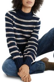 Madewell Stripe Metcalf Mock Neck Sweater