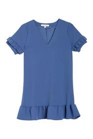 Vanity Room V-Neck Ruffle Trim Shift Dress