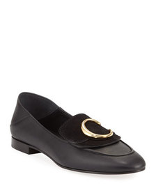 Chloe C Leather Flat Fold-Down Loafers