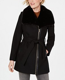 INC Asymmetrical Faux-Fur-Collar Belted Coat, Crea