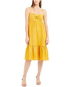 INC Twist-Front Linen-Blend Midi Dress, Created fo