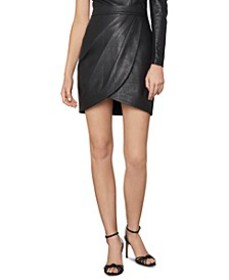Faux-Leather Tulip Mini Skirt