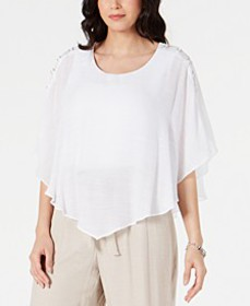Gauze Cape Gauze Top, In Regular and Petite, Creat