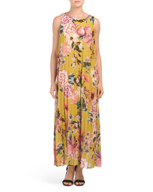 COOLPLES Made In Italy Pleated Floral Maxi Dress