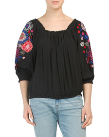 LUNA MOON Square Neck Balloon Sleeve Embroidered T