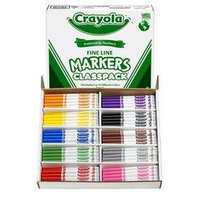 Crayola Non-Washable Classpack Markers, Fine Point