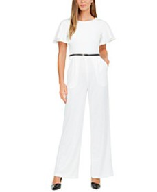 Belted Cape-Sleeve Jumpsuit