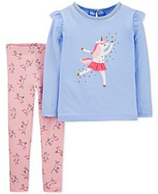Baby Girls 2-Pc. Dancing Unicorn Top & Unicorn-Pri