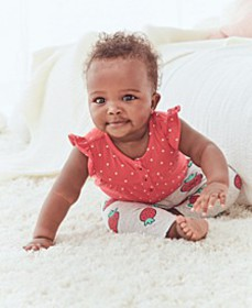 Baby Girls 2-Pc. Cotton Dot-Print Bodysuit & Straw