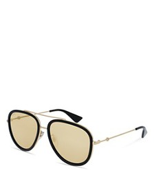 Gucci - Men's Mirrored Brow Bar Aviator Sunglasses