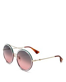 Gucci - Women's Brow Bar Round Sunglasses, 56mm