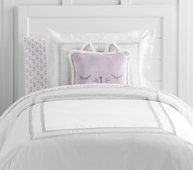 Pottery Barn Metallic Embroidered Sateen Duvet Cov