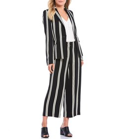 KARL LAGERFELD PARIS Stripe Double Weave One-Butto