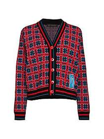 Check Varsity Cardigan Sweater RED PRINT