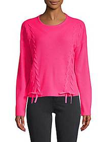 Ribbed Lace-Up Pullover Sweater FLUORESCENT PINK