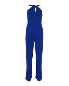 Bebe Twist-Neck Crepe Halter Jumpsuit