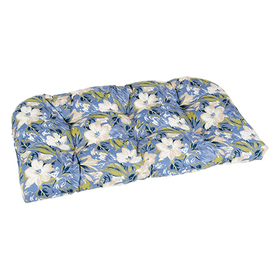 Ivory Floral Wicker Settee Cushion