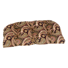 Black and Brown Paisley Wicker Settee Cushion