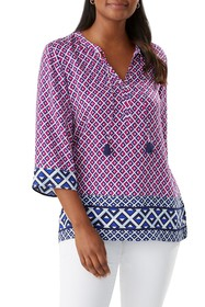 Tommy Bahama Try An Angle 3/4 Sleeve Top