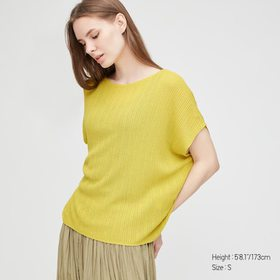Women Lacy Boat Neck Short-Sleeve Sweater, Yellow,
