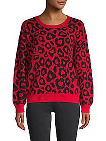 Animal-Print Cotton-Blend Sweater BRIGHT RED