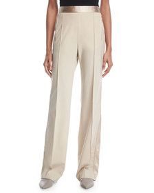 Rosetta Getty Pintuck High-Waist Stretch-Wool Popl
